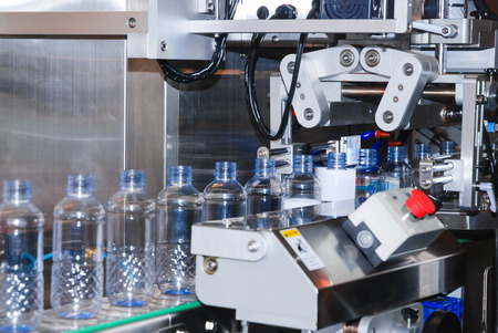 food and beverages: Bottling water on the process in factory