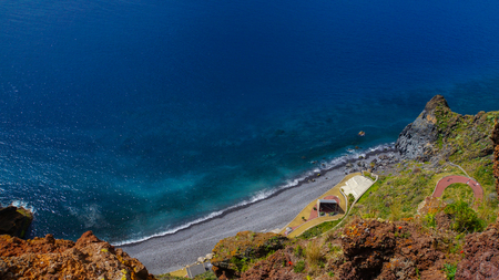 Madeira - Garajau - Christo Rei - View of the blue ocean from viewpoint Stock Photo
