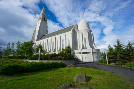 Iceland - Hallgrimskirkja Church in Reykjavik City with blue sky Stock Photo