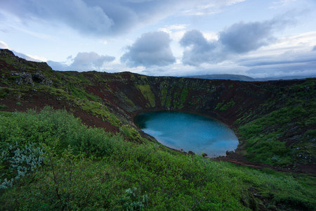 crater lake: Iceland - Kerry Crater Lake with red stairs at blue hour Stock Photo