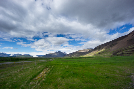 Iceland - Green landscape with volcanoes and glaciers