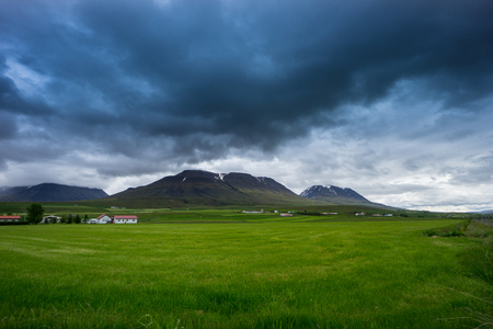 Iceland - Green meadows and fields before snowy volcanoes in dark cloudscape of thunderstorm