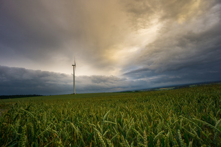 Germany - Single wind generator on endless wide green fields of grain at dawn with dramatic sky Stock Photo