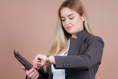 she is a successful business girl in a office and cheerful for the future Stock Photo