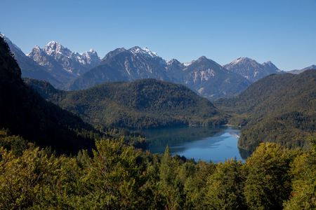 a pic from the alps with mountains rivers trees as landscape Standard-Bild