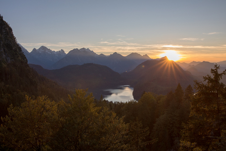 a pic from the alps with mountains rivers trees as landscape Stock Photo