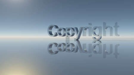 raytracing: Copyright word with trees and mirror on the ground Stock Photo