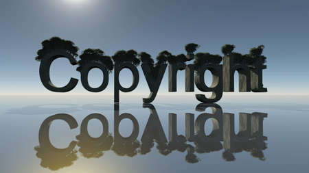 Copyright word with trees and mirror on the ground photo