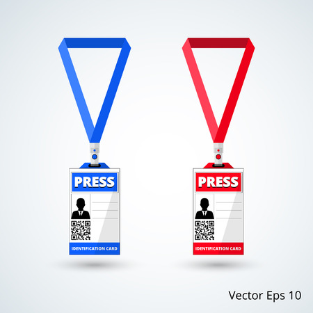 lanyard: id card press with lanyard set. vector illustration Illustration