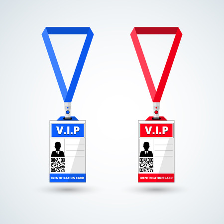lanyard: id card vip with lanyard set. vector illustration Illustration