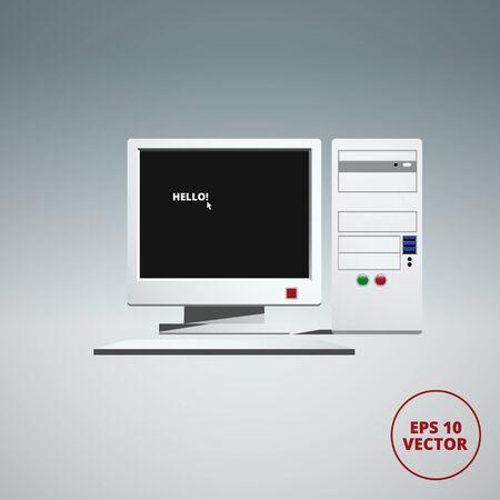computer case: computer case, monitor, keyboard, vector illustration