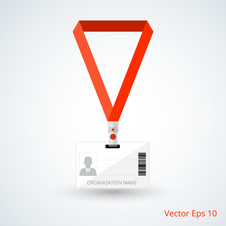 lanyard: id card with red lanyard. vector illustration