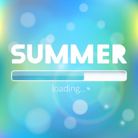 l'estate sta arrivando barra di caricamento con effetti razzi lente. illustrazione vettoriale Vettoriali