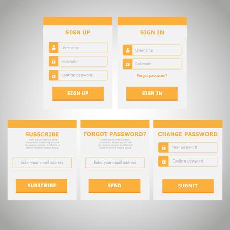 contraseña: IU Web elementos planos de diseño | Amarillo | Suscríbete, Iniciar sesión, Register, Cambiar contraseña, ¿Olvido Formas de contraseña