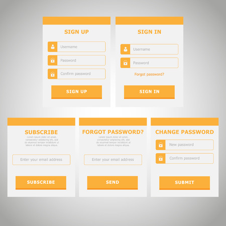 UI Web Elements Flat Design | Yellow | Subscribe, Login, Register, Change password, Forgot password Forms