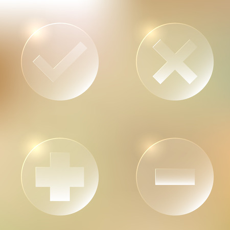 isolation backdrop: Set Of Glassy Icon | Accept, Agree | Cancel, Abort, Decline, Disagree| Plus, Add | Minus, Remove, Delete | Web Button Illustration