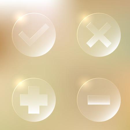 abort: Set Of Glassy Icon   Accept, Agree   Cancel, Abort, Decline, Disagree  Plus, Add   Minus, Remove, Delete   Web Button Illustration