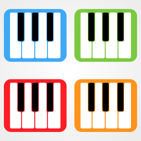 rounded rectangle: Set Of Piano Keys Rounded Rectangle Icons