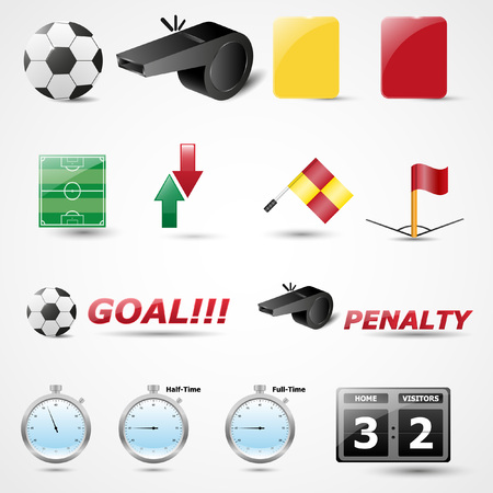 offside: Set of 14 Football Vector Icon | Soccer | Championship | Tournament