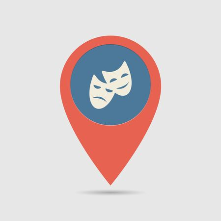 theatre masks: Map Pin For Theatre Location | Map Marker, Pointer | Masks Icon Illustration