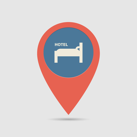 Map Pin For Hotel Location | Map Marker, Pointer | Hotel Icon Illustration