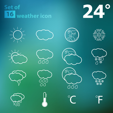 morning noon and night: Set of 16 Outline Vector Weather Icon   Weather Forecast