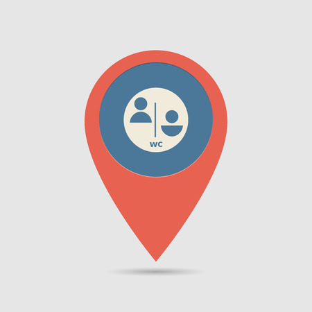 Map Pin For WC, Toilet Location | Map Marker, Pointer | WC Icon Illustration