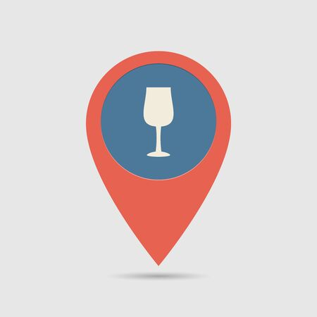 bocal: Map Pin For Restoraunt Location | Map Marker, Pointer | Bocal, Wineglass, Goblet Icon Illustration