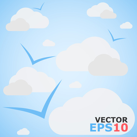 cloudy sky: Cloudy Sky Vector Background With Flying Birds