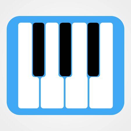 rounded: Piano Keys Icon Isolated On Blue Rounded Rectangle | Flat Design