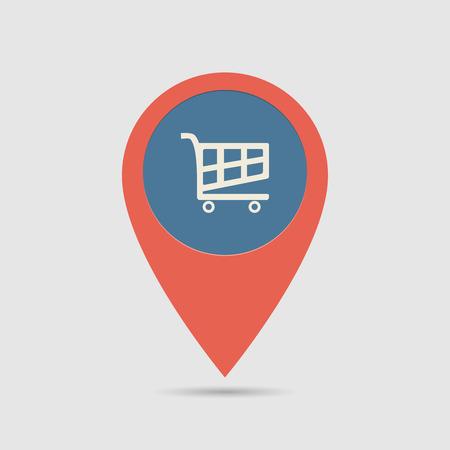 Mappa Pin per il supermercato località | Mappa Marker, Pointer | Carrello Icona Vettoriali