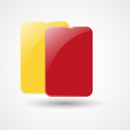 soccer referees hand with red card: Yellow Card And Red Card | Football, Soccer Icon | Vector Illustration