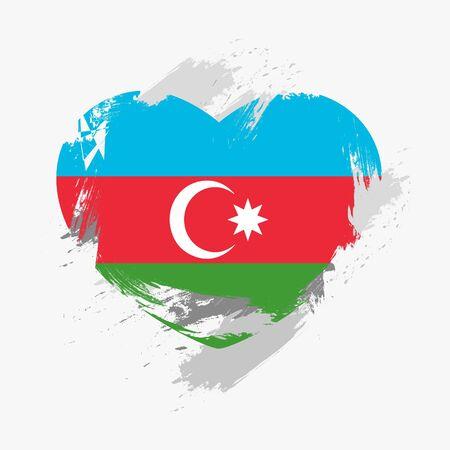 azerbaijanian: Grunge Flag Of Azerbaijan Isolated On Heart
