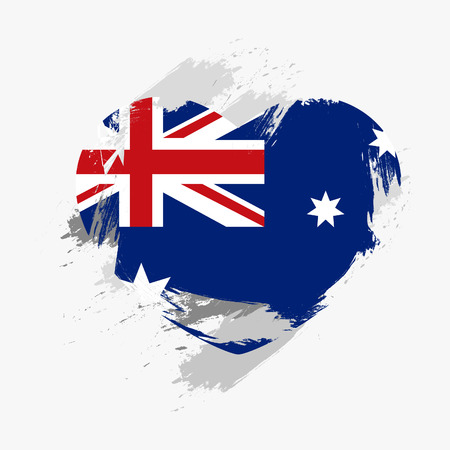 foreign nation: Grunge Flag Of Australia Isolated On Heart