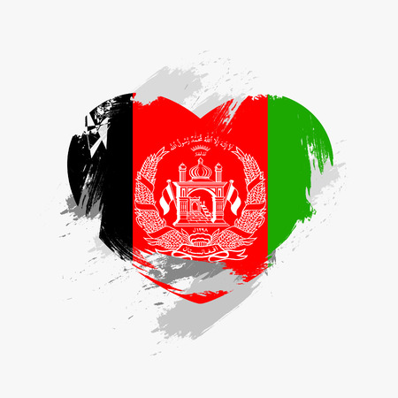 Grunge Flag Of Afghanistan Isolated On Heart