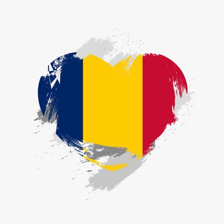 grune: Flag of Chad isolated on grune heart.