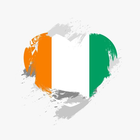Flag of Cote dIvoire isolated on grunge heart. Illustration