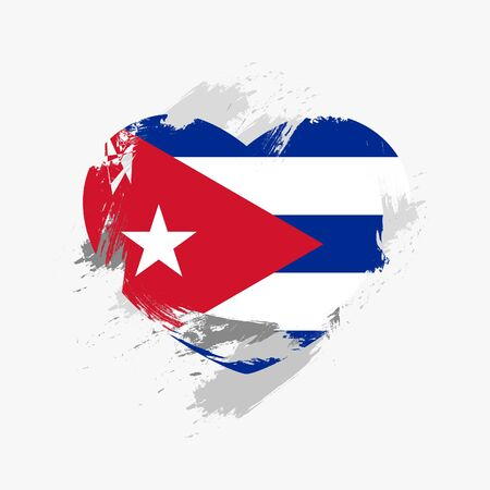 Indicador de Grunge de Cuba Aislado En Corazón