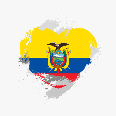 rudeness: Flag of Ecuador isolated on grunge heart.