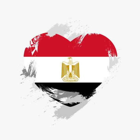 Flag of Egypt isolated on grunge heart.