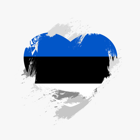 grunge heart: Flag of Estonia isolated on grunge heart