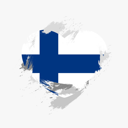 europe vintage: Flag of Finland isolated on grunge heart.