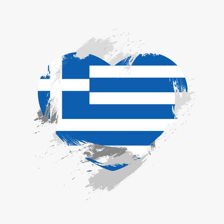grunge heart: Flag of Greece isolated on grunge heart. Illustration