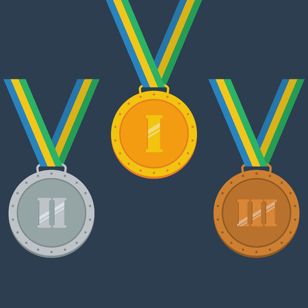 Gold, silver, bronze medals. Vector illustration Illustration