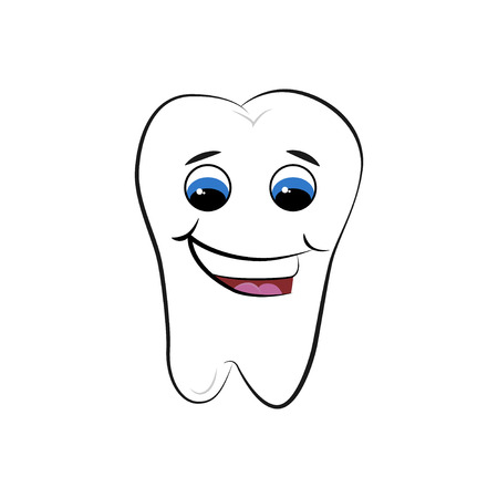 Illustration of smiling tooth isolated on white background Stock Photo