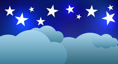 dark clouds: Night sky with stars and clouds. Vector illustration