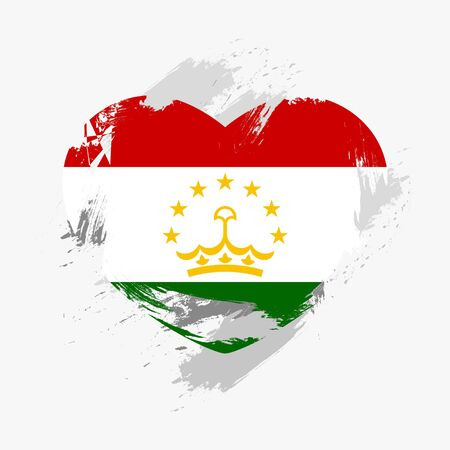 grunge heart: Flag of Tajikistan isolated on grunge heart. Vector illustration Illustration