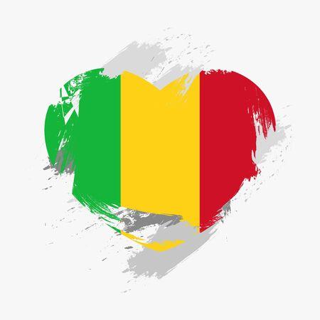 mali: Flag of Mali isolated on grunge heart. Vector illustration