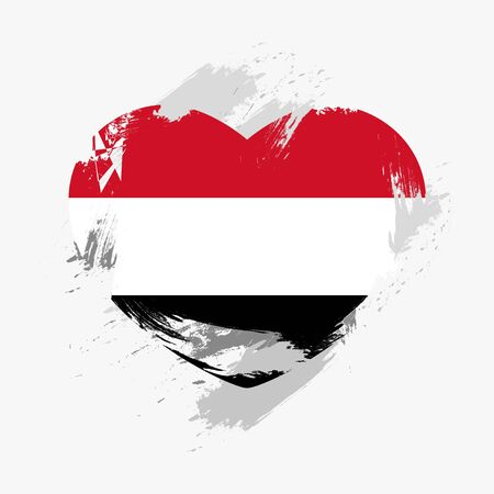 yemen: Flag of Yemen isolated on grunge heart. Vector illustration