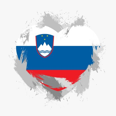 grunge heart: Flag of Slovenia isolated on grunge heart. Vector illustration